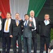 Orbán Viktor és a Hajdú-bihari fideszes jelöltek a választás előtti nagygyűlésen Fotó: Vagy.hu