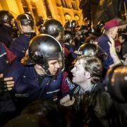 Tüntetők Budapesten
