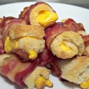Baconös sajttekercs