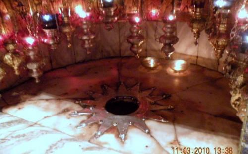 Bethlehemben, a Születés Templomában a jászol